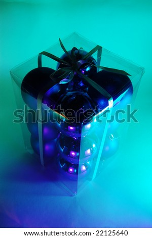Box of Christmas baubles - stock photo