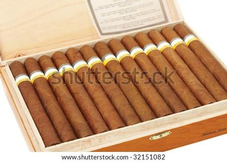 Box of Cuban Cigars - stock photo