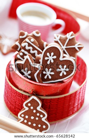 box of delicious gingerbreads - sweet food