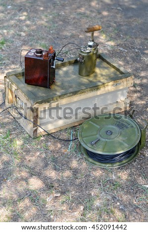 box of explosives and a detonator world war 2 - stock photo