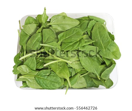 Box of fresh organic healthy spinach