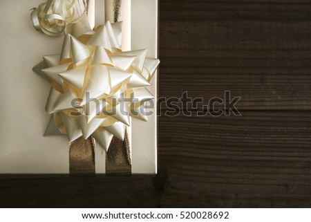 box of gift decorated on wood old