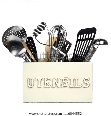 Box of kitchen utensils, isolated on white.  Shabby chic style. - stock photo