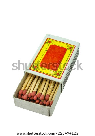 Box of matches on a white background. - stock photo