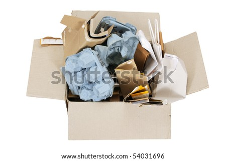Box of Paper Rubbish for Recycle on White Background - stock photo