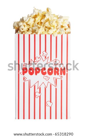 Box of popcorn isolated  on a white background with a clipping path - stock photo