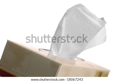 Box of tissues isolated on white background. - stock photo