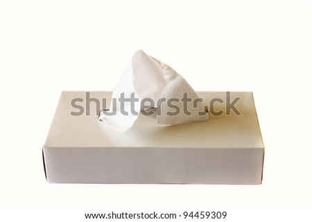 Box of Tissues isolated over white background - stock photo