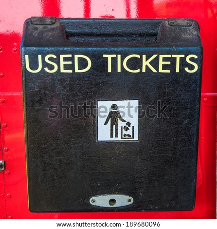 Box of used ticket on the bus - stock photo