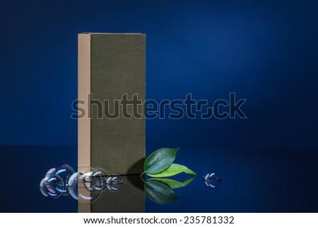 box on a dark blue background - stock photo