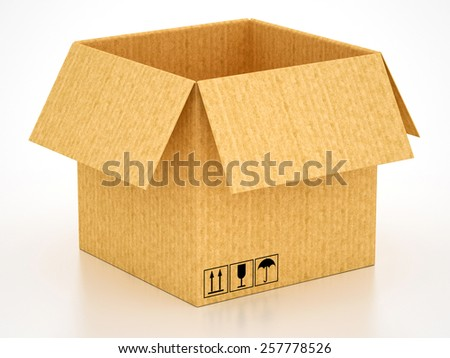 box package cardboard carton on a white background