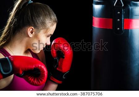 Box training for girl - stock photo