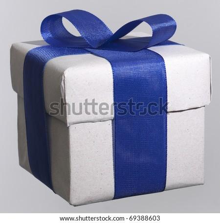 box whit blue bow - stock photo
