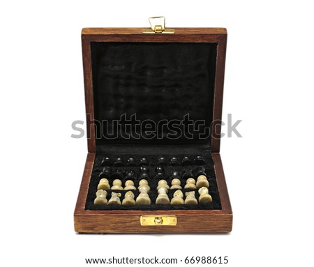 Box with a chess on a white background. - stock photo