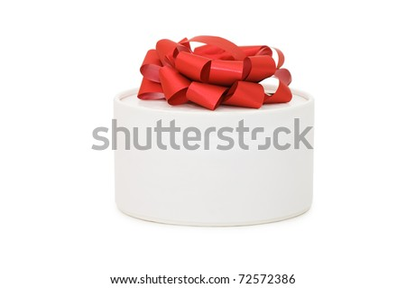 Box with a gift  isolated on white background