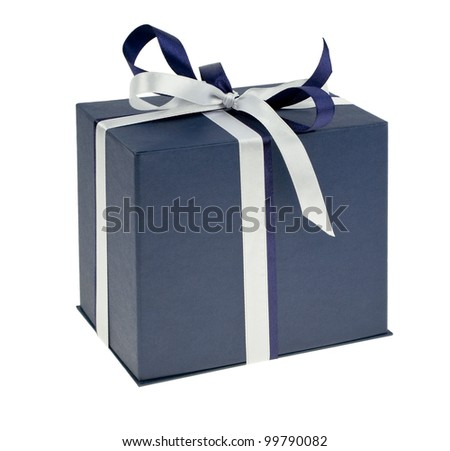 Box with a present tied with colored ribbon - stock photo