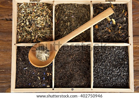 box with different kind of tea - stock photo