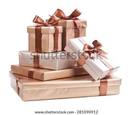 box with gifts and brown bow isolated on white background - stock photo