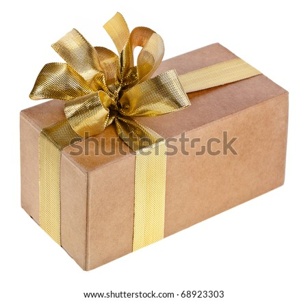 box with golden ribbon bow isolated on white - stock photo