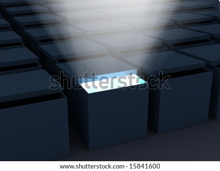 box with light coming out of it - stock photo