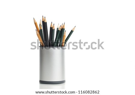 Box with pencils, isolated on white - stock photo