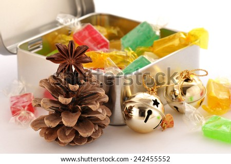 Box with sweet honey candy. - stock photo