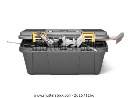 Box with tools front view isolated on white background. 3d illustration. - stock photo