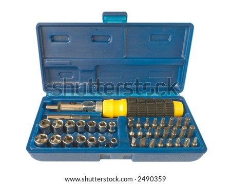 Box with tools - screws and screwdriver, isolated