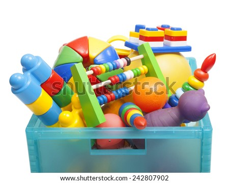 box with toys on the white - stock photo