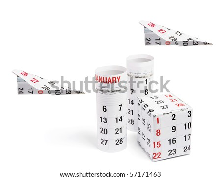 Box Wrapped with Calendar and Paper Planes on White Background - stock photo