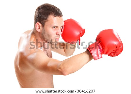 Boxer in action isolated on white background - stock photo