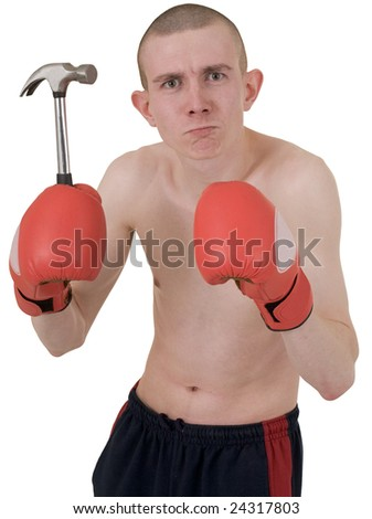 Boxer in blood red gloves and hammer on hand - stock photo