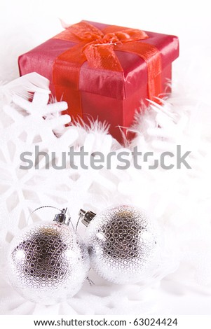 Boxes and Ornaments - Isolated Christmas Background - stock photo