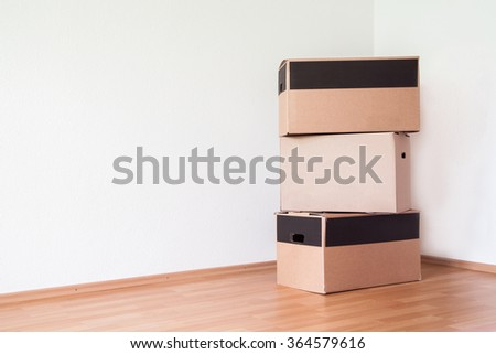 Boxes in living room for a new start
