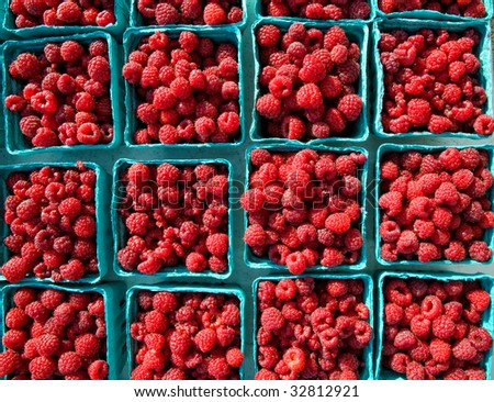 Boxes of fresh red raspberries at local farmers market - stock photo
