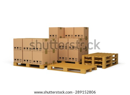 Boxes on wooden pallet. 3d image. White background.