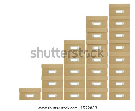Boxes stacked to represent a chart