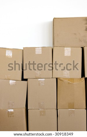 boxes stacked up solated over a white background - stock photo