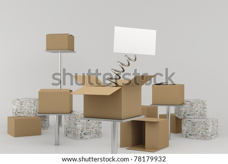 Boxes Whit Surprise - stock photo