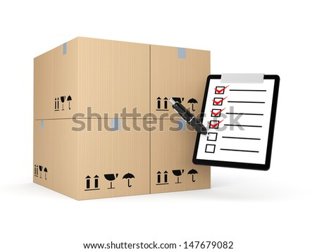 Boxes with clipboard. Delivery metaphor - stock photo