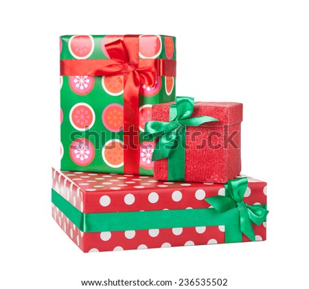 Boxes with gifts tied with red ribbon and bows isolated on white background  - stock photo