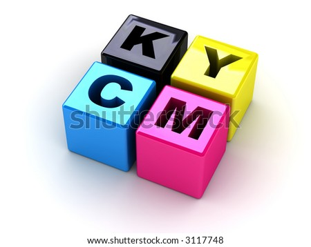 boxes with letters CMYK (can be used as illustration on a polygraphic theme) - stock photo