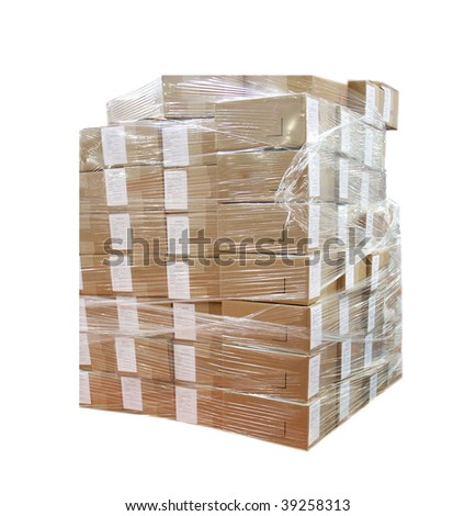 Boxes wrapped in plastic - stock photo