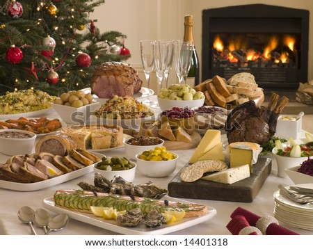 Boxing Day Buffet Lunch, Christmas Tree and Log Fire - stock photo