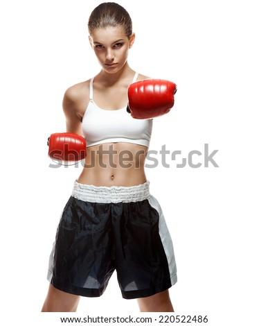Boxing girl / portrait of healthy sport brunette girl on white background  - stock photo
