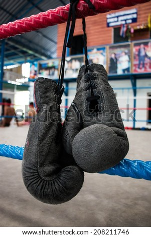 Boxing glove sport background - stock photo