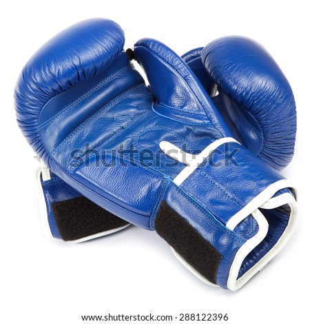 Boxing gloves and bandages isolated on a white background. - stock photo