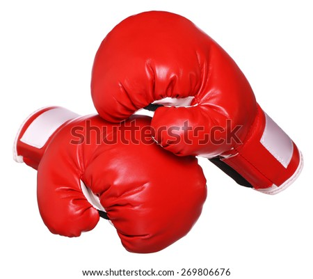 Boxing gloves isolated on white - stock photo