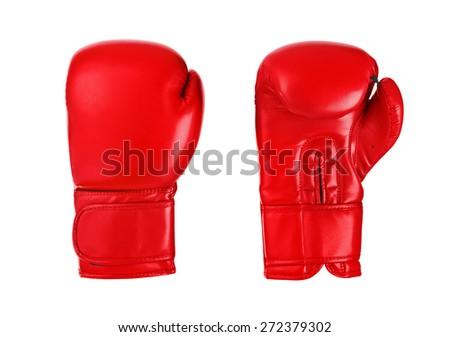 Boxing gloves isolated on white background - stock photo