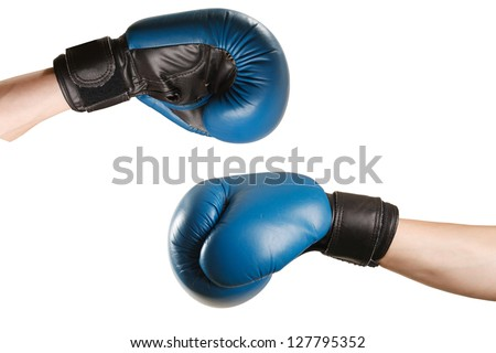 boxing gloves on hands on white background - stock photo